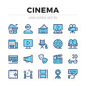 Cinema vector line icons set. Filmmaking, film production. Thin line design. Modern outline graphic elements, simple stroke symbols. Cinema icons