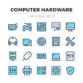 Computer hardware vector line icons set. Computer parts, computer components. Thin line design. Outline graphic elements, simple stroke symbols. Computer icons