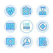 Medical education vector line icons set. Medical school, college, healthcare education and training, internship outline symbols. Linear, thin line style. Modern simple stroke outline graphic elements for web design, websites, mobile app. Round icons