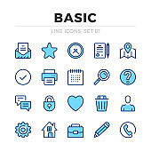 Basic vector line icons set. Thin line design. Outline graphic elements, simple stroke symbols. Basic icons