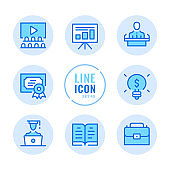 Business training vector line icons set. Business skills, workshop, organization, financial management outline symbols. Linear, thin line style. Modern simple stroke outline graphic elements for web design, websites, mobile app. Round icons