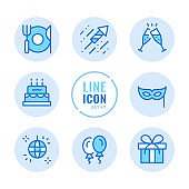 Party vector line icons set. Celebration, holiday, event, champagne flutes, disco, gift, cheers outline symbols. Linear, thin line style. Modern simple stroke outline graphic elements for web design, websites, mobile app. Round icons