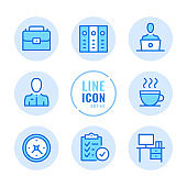Office vector line icons set. Job, business, briefcase, workplace, binders, report outline symbols. Linear, thin line style. Modern simple stroke outline graphic elements for web design, websites, mobile app. Round icons