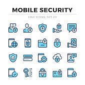 Mobile security vector line icons set. Thin line design. Outline graphic elements, simple stroke symbols. Mobile security icons