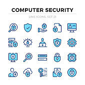 Computer security vector line icons set. Data protection, cybersecurity, information security. Thin line design. Modern outline graphic elements, simple stroke symbols. Computer security icons