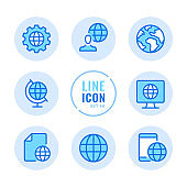 Globe vector line icons set. Global business, communication, travel, world map, location, planet Earth outline symbols. Linear, thin line style. Modern simple stroke outline graphic elements for web design, websites, mobile app. Round icons