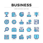Business vector line icons set. Thin line design. Outline graphic elements, simple stroke symbols. Business icons