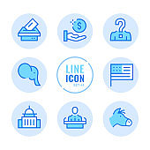 American elections vector line icons set. Voting, politics, United States political party, government, ballot box outline symbols. Linear, thin line style. Modern simple stroke outline graphic elements for web design, websites, mobile app. Round icons