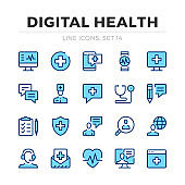 Digital health vector line icons set. Thin line design. Outline graphic elements, simple stroke symbols. Digital health icons