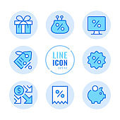Discount vector line icons set. Sale, commerce, online shopping, gift, special offer labels outline symbols. Linear, thin line style. Modern simple stroke outline graphic elements for web design, websites, mobile app. Round icons
