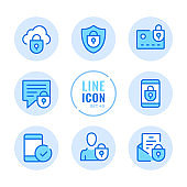 Mobile security vector line icons set. Mobile phone protection, unlock smartphone, cellphone, login, password outline symbols. Linear, thin line style. Modern simple stroke outline graphic elements for web design, websites, mobile app. Round icons