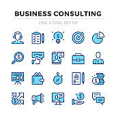 Business consulting vector line icons set. Thin line design. Outline graphic elements, simple stroke symbols. Business analysis icons