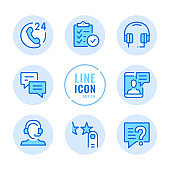 Customer service vector line icons set. Contact client support, online chat, help, user assistance outline symbols. Linear, thin line style. Modern simple stroke outline graphic elements for web design, websites, mobile app. Round icons