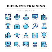 Business training vector line icons set. Thin line design. Modern outline graphic elements, simple stroke symbols. Business training icons