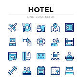 Hotel vector line icons set. Thin line design. Modern outline graphic elements, simple stroke symbols. Hotel icons