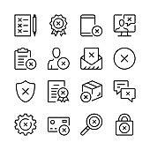Reject line icons set. Modern graphic design concepts, simple linear outline elements collection. Thin line design. Vector line icons