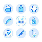 Cooking vector line icons set. Kitchen utensils, cooking pot, food preparation, kitchenware, cutting board outline symbols. Linear, thin line style. Modern simple stroke outline graphic elements for web design, websites, mobile app. Round icons
