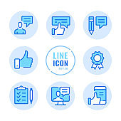 Feedback vector line icons set. Like button, thumbs up, survey, recommend, good review outline symbols. Linear, thin line style. Modern simple stroke outline graphic elements for web design, websites, mobile app. Round icons
