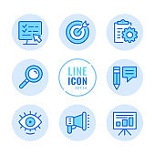 SEO vector line icons set. Digital marketing, online advertising, optimization, content management, copywriting outline symbols. Linear, thin line style. Simple stroke outline graphic elements for web design, websites, mobile app. Round icons