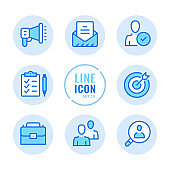 Human resources vector line icons set. Employment, team management, hire employees, send cv, resume outline symbols. Linear, thin line style. Modern simple stroke outline graphic elements for web design, websites, mobile app. Round icons