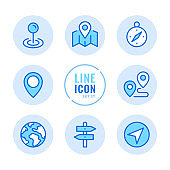 Location vector line icons set. Navigation, map pin, compass, map pointer, path, flag outline symbols. Linear, thin line style. Modern simple stroke outline graphic elements for web design, websites, mobile app. Round icons