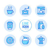 Coffee vector line icons set. Coffee cup, cafe, shop, beans, disposable cup outline symbols. Linear, thin line style concept. Modern simple stroke outline graphic elements for web design, websites, mobile app. Round icons