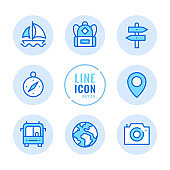 Tourism vector line icons set. Map label, camera, navigation, backpack, vacation outline symbols. Linear, thin line style. Modern simple stroke outline graphic elements for web design, websites, mobile app. Round icons