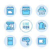 Kitchen appliances vector line icons set. Household appliances, cooker, washer, dishwasher, cooking stove, fridge outline symbols. Linear, thin line style concept. Modern simple stroke outline graphic elements for web design, websites, mobile app. Round i
