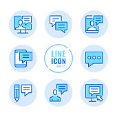 Communication vector line icons set. Message, online chat, sms, conversation, text messaging, speech bubbles outline symbols. Linear, thin line style. Simple stroke outline graphic elements for web design, websites, mobile app. Round icons