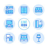 Furniture vector line icons set. Room interior objects, wardrobe, kitchen, sofa, bed outline symbols. Linear, thin line style. Simple stroke outline graphic elements for web design, websites, mobile app. Round icons