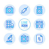Pharmacy vector line icons set. Prescription medicine, drugs, pills, medication outline symbols. Linear, thin line style. Simple stroke outline graphic elements for web design, websites, mobile app. Round icons