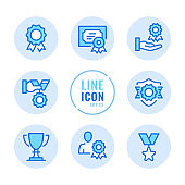 Awards vector line icons set. Medal, certificate, reward, trophy outline symbols. Linear, thin line style. Simple stroke outline graphic elements for web design, websites, mobile app. Round icons