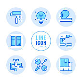 Home improvement vector line icons set. Home renovation, floor plan, drill, repair outline symbols. Linear, thin line style. Simple stroke outline graphic elements for web design, websites, mobile app. Round icons