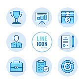 Business vector line icons set. Checklist, contract, trophy, money, briefcase outline symbols. Linear, thin line style. Simple stroke outline graphic elements for web design, websites, mobile app. Round icons