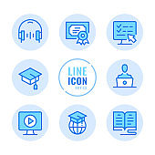 Online education vector line icons set. Book, computer, graduation hat, webinar, diploma outline symbols. Linear, thin line style. Simple stroke outline graphic elements for web design, websites, mobile app. Round icons