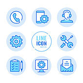 Technical support vector line icons set. Tech support, call center, computer, mobile phone repair service outline symbols. Linear, thin line style. Simple stroke outline graphic elements for web design, websites, mobile app. Round icons