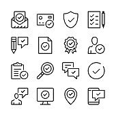 Approve line icons set. Check marks, ticks, guarantee, verified, certification concepts. Modern graphic design concepts, simple outline elements collection. Vector line icons