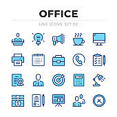 Office vector line icons set. Thin line design. Outline graphic elements, simple stroke symbols. Office icons