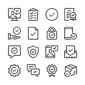 Checkmarks line icons set. Approval, compliance, verified, certification concepts. Modern graphic design concepts, simple outline elements collection. Vector line icons