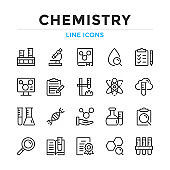 Chemistry line icons set. Modern outline elements, graphic design concepts. Stroke, linear style. Simple symbols collection. Vector line icons