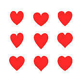 Vector hearts icons set isolated on white background. Red hearts