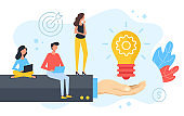 Creative idea. Group of people sitting on businessman hand with light bulb and gear. Brainstorming, marketing, teamwork, business solution concepts. Modern flat design. Vector illustration