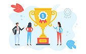 Winner, trophy, award. Group of happy people celebrate winning. Business success, employee achievement, golden cup, 1st place, victory, best team, prize concepts. Modern flat design. Vector illustration