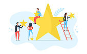 Customer satisfaction, client choice, rate app, rating stars, feedback concepts. People holding yellow stars. Modern flat design. Vector illustration