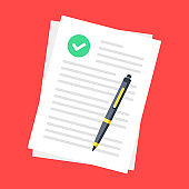 Document with check mark and pen. Agreement, business contract, application form, accept deal, legal document concepts. Top view. Modern flat design. Vector illustration