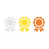 Gold medal, silver medal, bronze medal. Prize, trophy, award concepts. Premium quality graphic design elements isolated on white background. Vector icons set