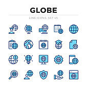 Globe vector line icons set. Thin line design. Modern outline graphic elements, simple stroke symbols. Globe icons