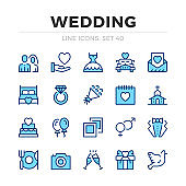 Wedding vector line icons set. Thin line design. Modern outline graphic elements, simple stroke symbols. Wedding icons