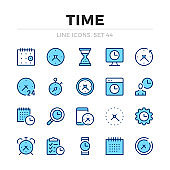 Time vector line icons set. Thin line design. Outline graphic elements, simple stroke symbols. Time icons