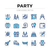 Party vector line icons set. Thin line design. Outline graphic elements, simple stroke symbols. Celebration icons